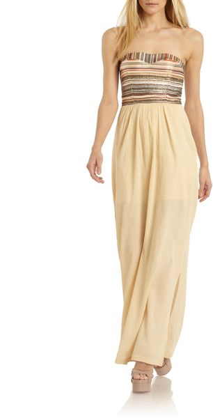Love Sam Cotton Strapless Maxi Dress - Lyst