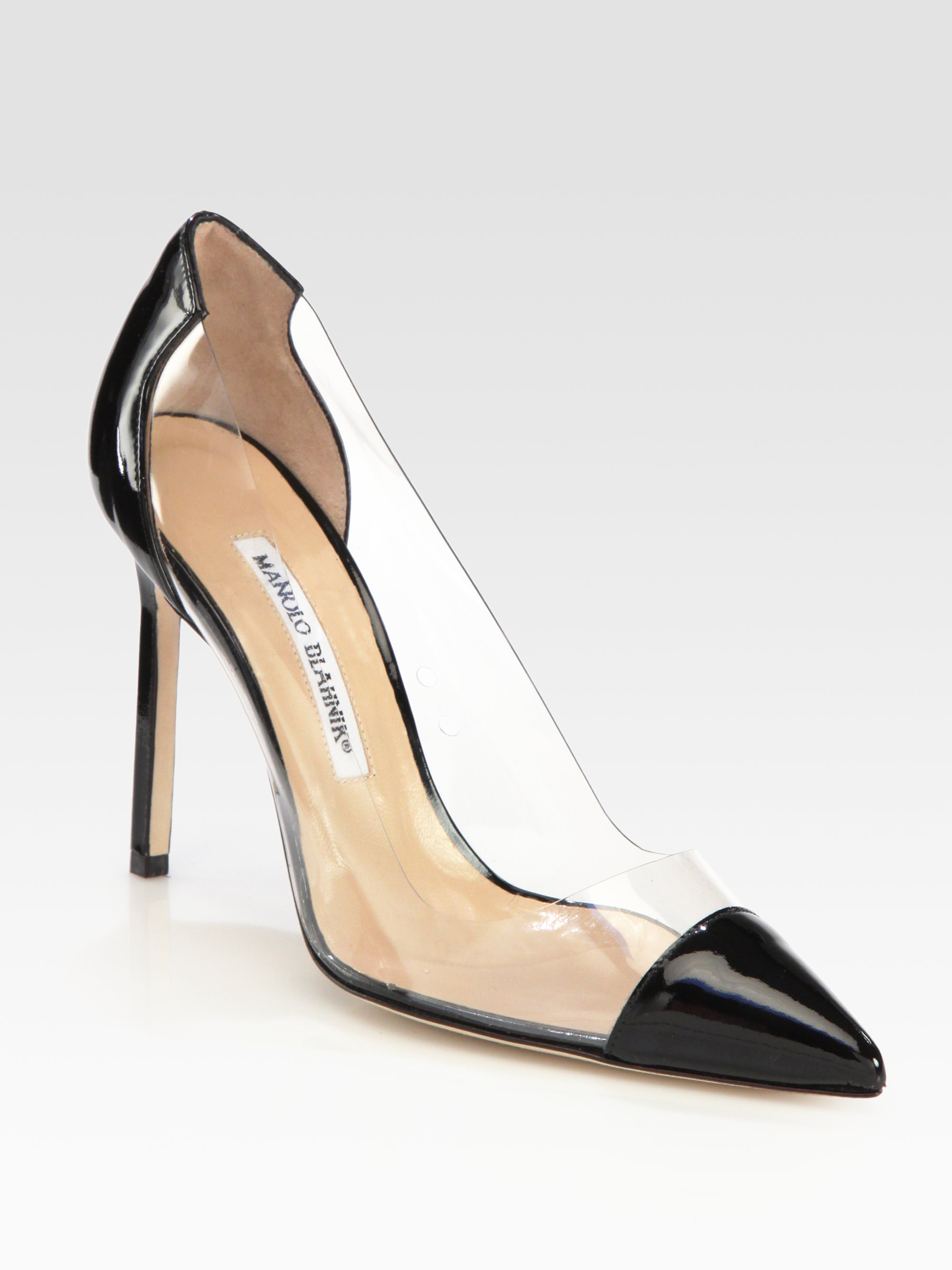Manolo blahnik pacha translucent captoe pumps in black lyst for Who is manolo blahnik
