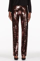 Marc Jacobs Black and Copper Striped Sequin Trousers - Lyst