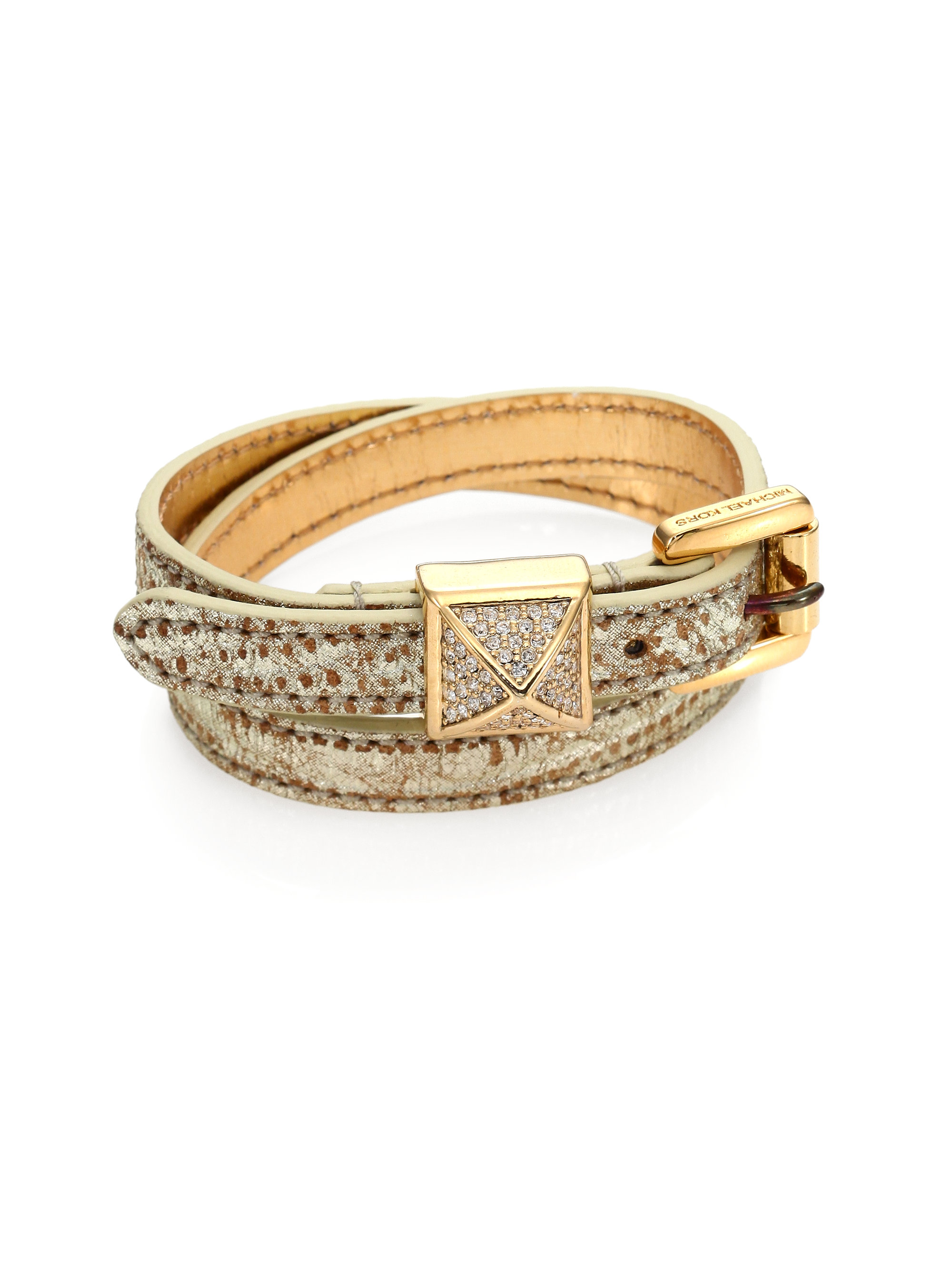lyst michael kors pythonembossed leather wrap bracelet. Black Bedroom Furniture Sets. Home Design Ideas