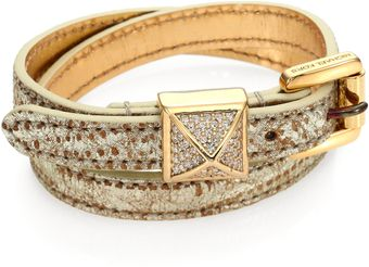 Michael Kors Pythonembossed Leather Wrap Bracelet - Lyst