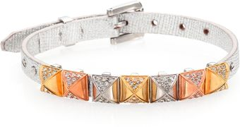 Michael Kors Studded Metallic Leather Bracelet - Lyst