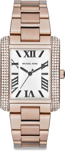 Michael Kors Emery Embellished Rose Goldtone Stainless Steel Rectangular Bracelet Watch - Lyst