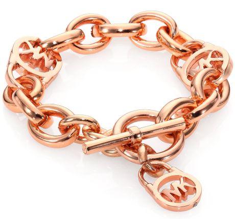 michael kors padlock toggle bracelet rose goldtone in gold. Black Bedroom Furniture Sets. Home Design Ideas