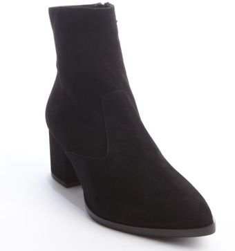 Miu Miu Black Suede Calzature Donna Pointed Zip Side Ankle Boot - Lyst