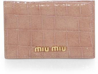 Miu Miu St Cocco Patent Crocodileembossed Leather Card Case - Lyst