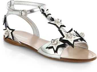 Miu Miu Star Metallic Leather Sandals - Lyst