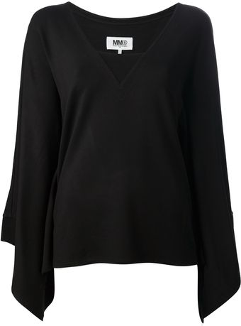 Mm6 By Maison Martin Margiela Flared Sleeve Sweater - Lyst