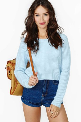 Nasty Gal Clear Skies Crop Sweater - Lyst