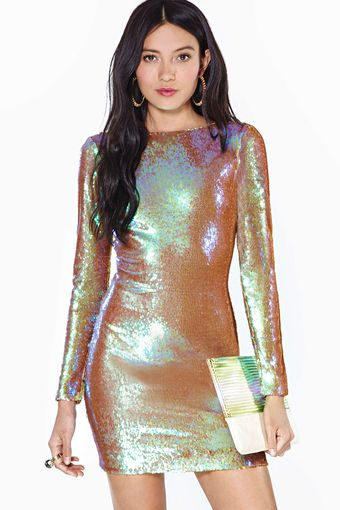 Nasty Gal Dress The Population Lola Sequin Dress Iridescent - Lyst
