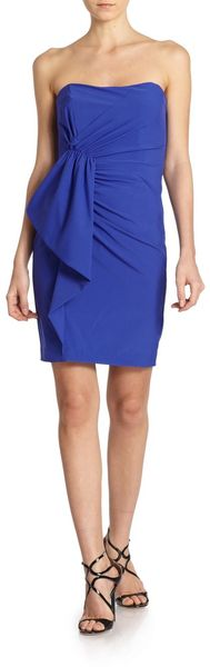 Nicole Miller Asymmetrical Gathered Strapless Dress - Lyst
