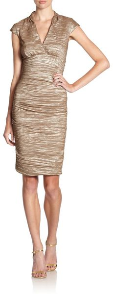 Nicole Miller Crinkled Metallic Cap Sleeve Dress - Lyst