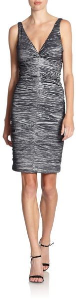 Nicole Miller Crinkled Metallic Sleeveless Dress - Lyst