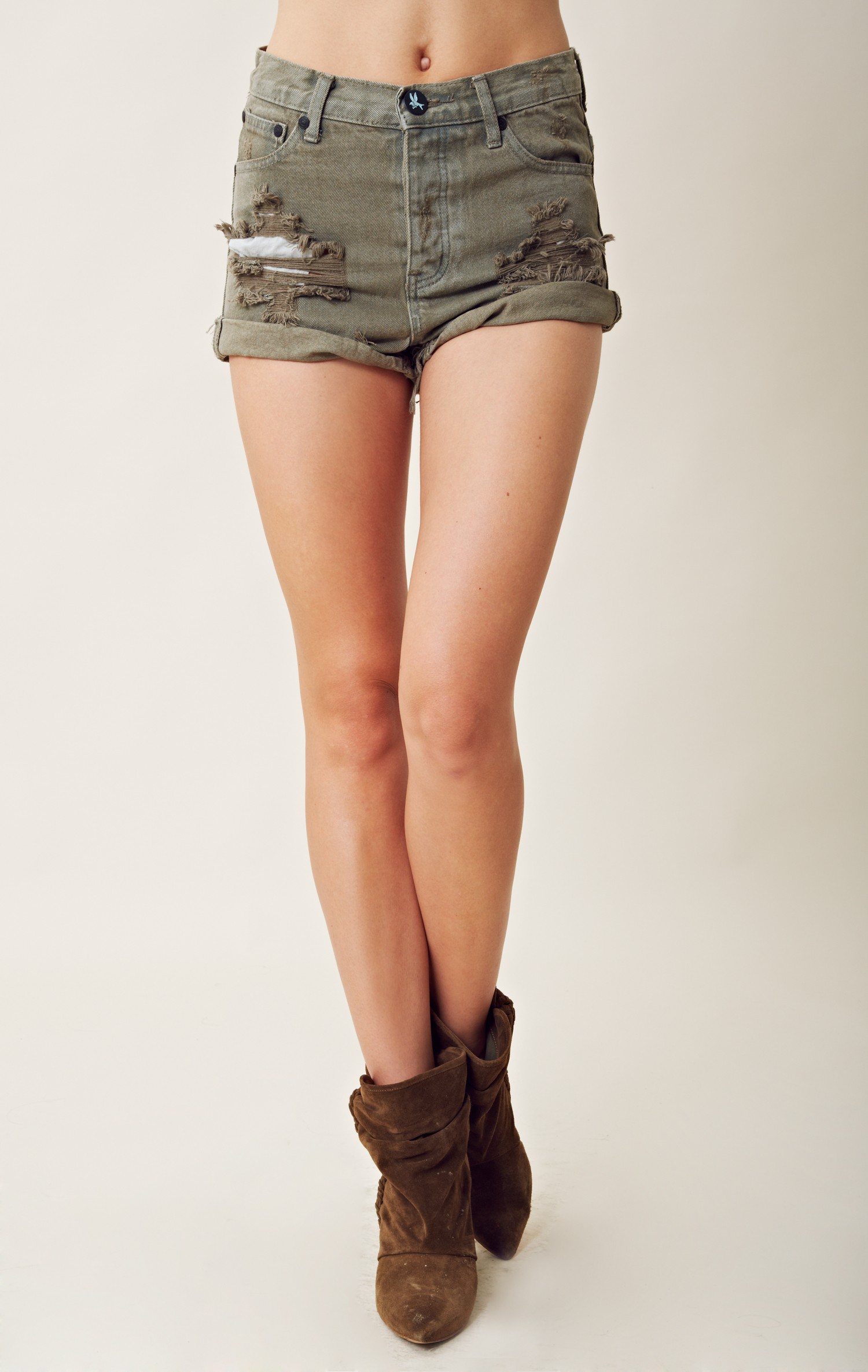 one teaspoon hawks high waisted shorts in khaki lyst. Black Bedroom Furniture Sets. Home Design Ideas