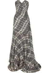 Oscar de la Renta Plaid-print Pleated Silk-chiffon Gown - Lyst