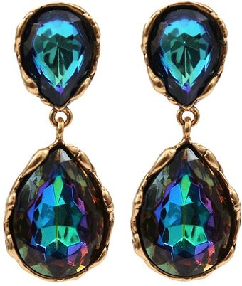 Oscar de la Renta Large Crystal Drop Earrings - Lyst