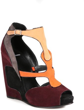 Pierre Hardy Suede Tstrap Wedge Sandals - Lyst