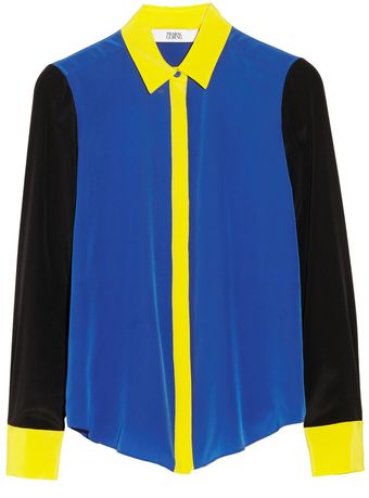 Prabal Gurung Colorblock Silk Crepe De Chine Blouse - Lyst