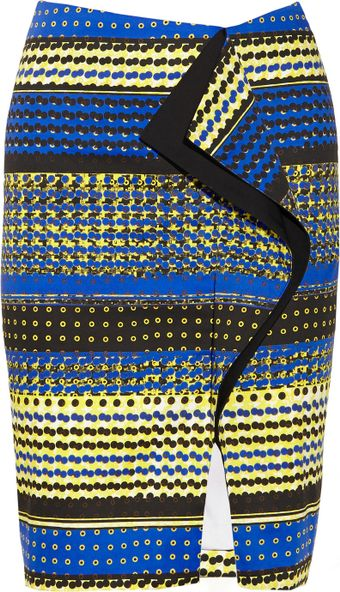 Prabal Gurung Ruffled Printed Cotton Blend Skirt - Lyst