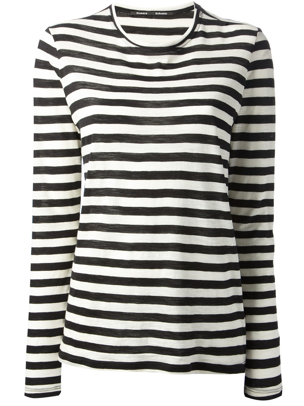 Lyst - Proenza schouler Striped Long Sleeve Tshirt in Black