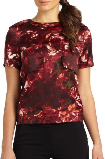 Rachel Roy Silk cotton Rose Print Top - Lyst