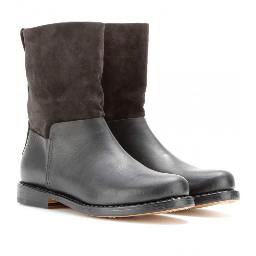 rag bone highland suede and leather boots in gray