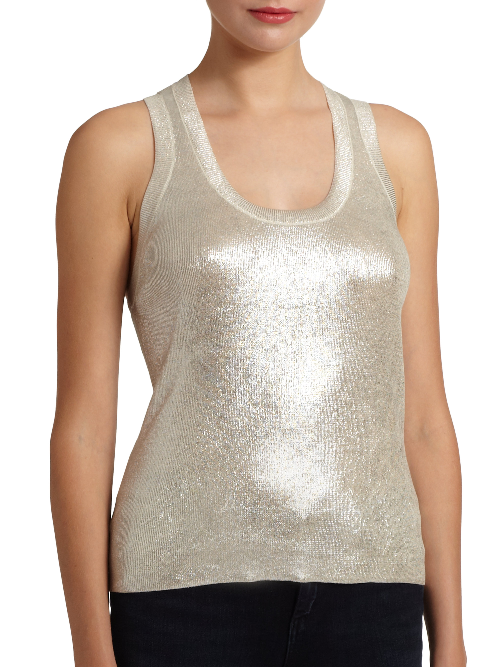 Tank Top Fashion Model New Tip Tumblr Girl Tumblr: Robert Rodriguez Metallic Cotton Tank Top In Silver