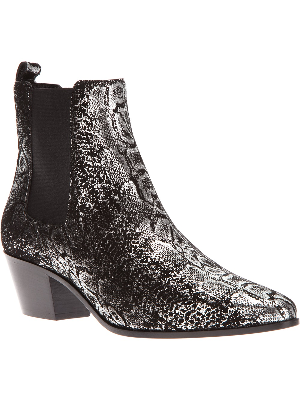 saint laurent snakeskin print chelsea boot in gray