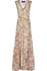 Saloni Tara Printed Silk Georgette Maxi Dress - Lyst