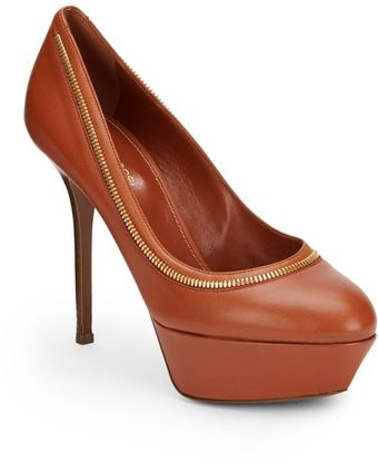 Sergio Rossi Leather Zip-Trim Platform Pumps - Lyst