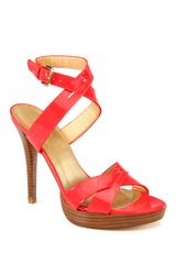Stuart Weitzman Patent Leather Criss-Cross Platform Sandals - Lyst