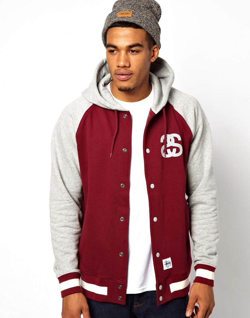 Stussy Hooded Baseball Jacket in Red for Men | Lyst