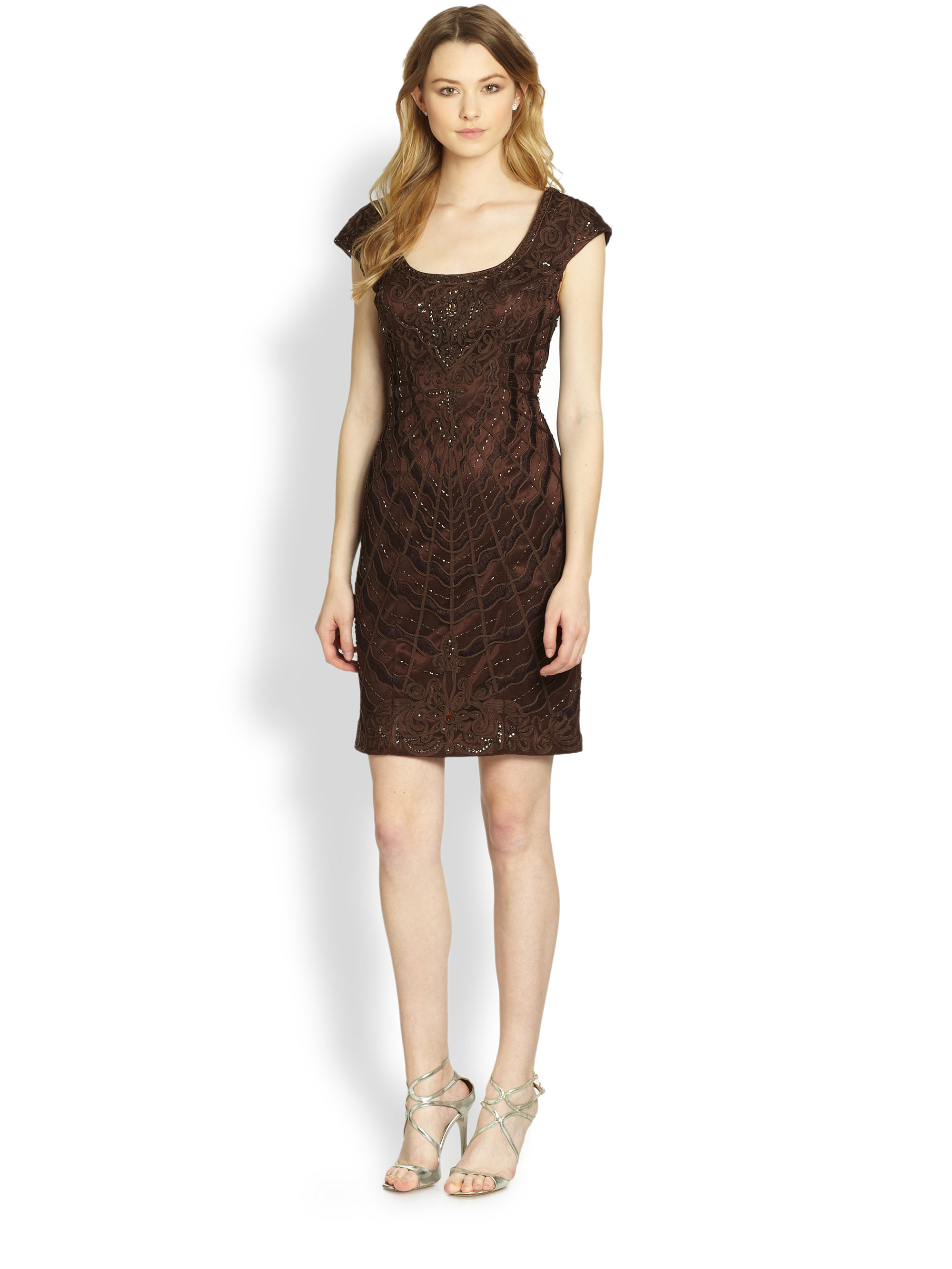 Sue wong Soutache-Embroidered Cocktail Dress in Brown | Lyst