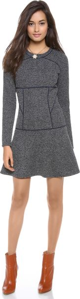Thakoon Addition Flared Skirt Dress in Gray (Navy)