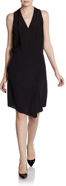 Tibi Silk Mock Wrap Dress - Lyst