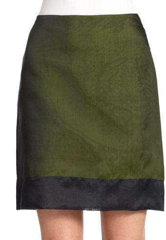 Tibi Silk Contrast Mini Skirt - Lyst