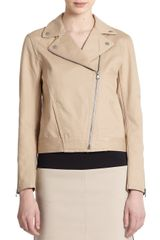 Tibi Cotton Twill Asymmetrical Zip Moto Jacket - Lyst