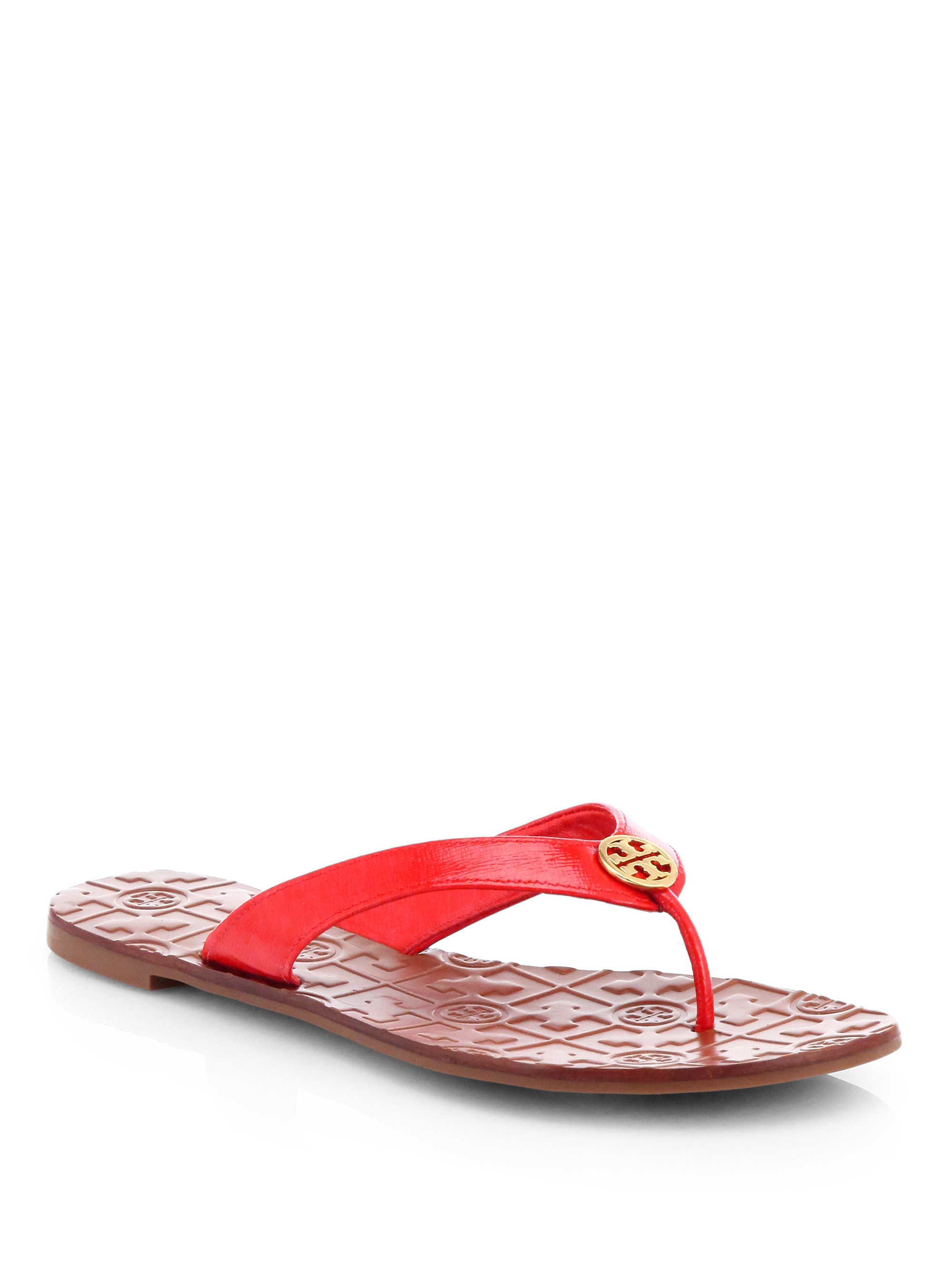 1aedf5469 Tory Burch Thora 2 Patent Leather Thong Sandals in Red - Lyst