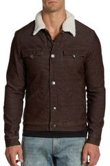 True Religion Faux Sherpa Collar Corduroy Jacket - Lyst