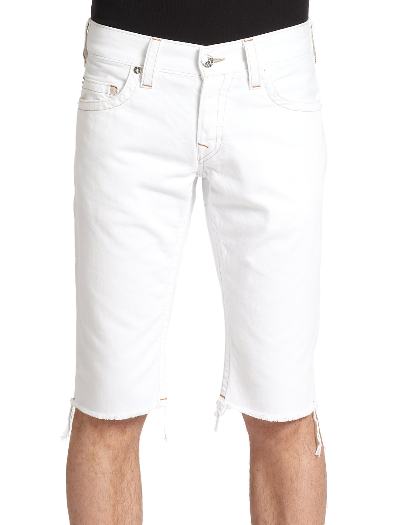 True Religion Geno Cut Off Denim Shorts in White for Men | Lyst