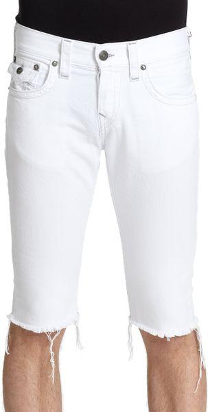 True Religion Jack Cut Off Denim Shorts in White for Men | Lyst