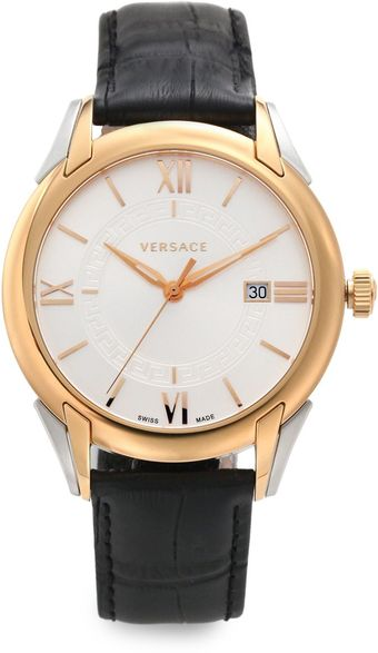 Versace Apollo Rose Goldtone Stainless Steel Leather Watch - Lyst