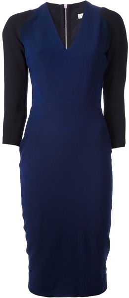 Victoria Beckham Contrast Sleeve Dress - Lyst