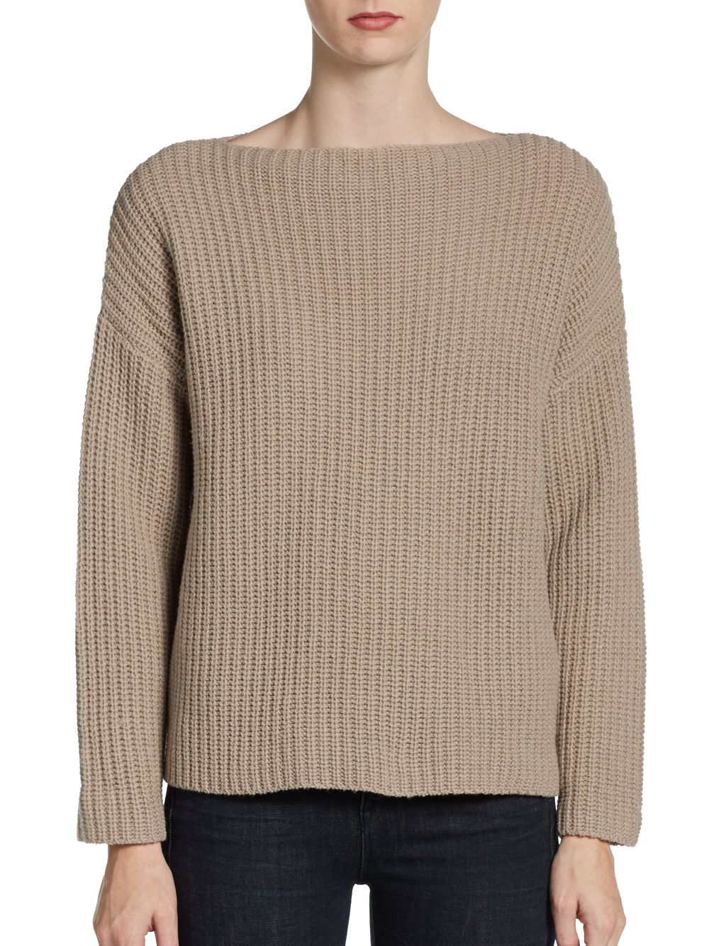 Lyst - Vince Ribbed Boat Neck Sweater in Natural