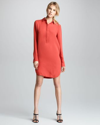 Vince Longsleeve Silk Shirtdress - Lyst