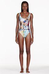 We Are Handsome Turquoise The Township Printed One Piece Swimsuit - Lyst