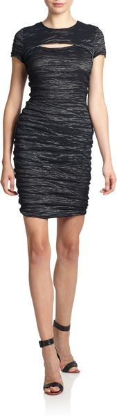 Yigal Azrouel Cutout Crinkled Metallic Dress - Lyst