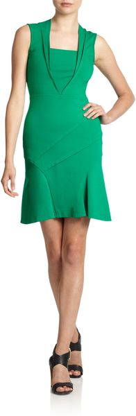 Yigal Azrouel Paneled Compact Jersey Flared Dress - Lyst