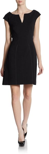 Zac Posen Cap Sleeve Pleatneck Dress - Lyst