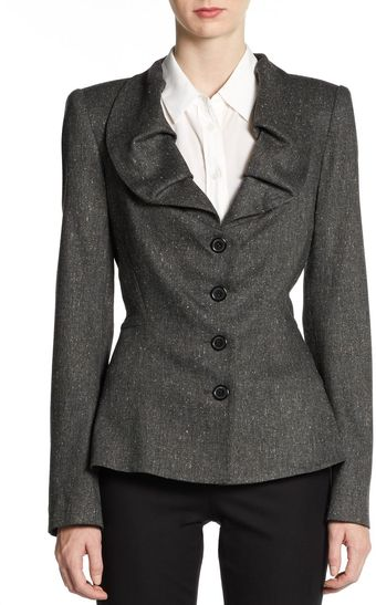 Zac Posen Pleated Collar Jacket - Lyst